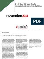 Epokè. Osservatorio intention polls - novembre 2011