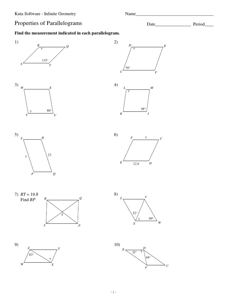 Properties Of Parallelograms Worksheet - properties of ...