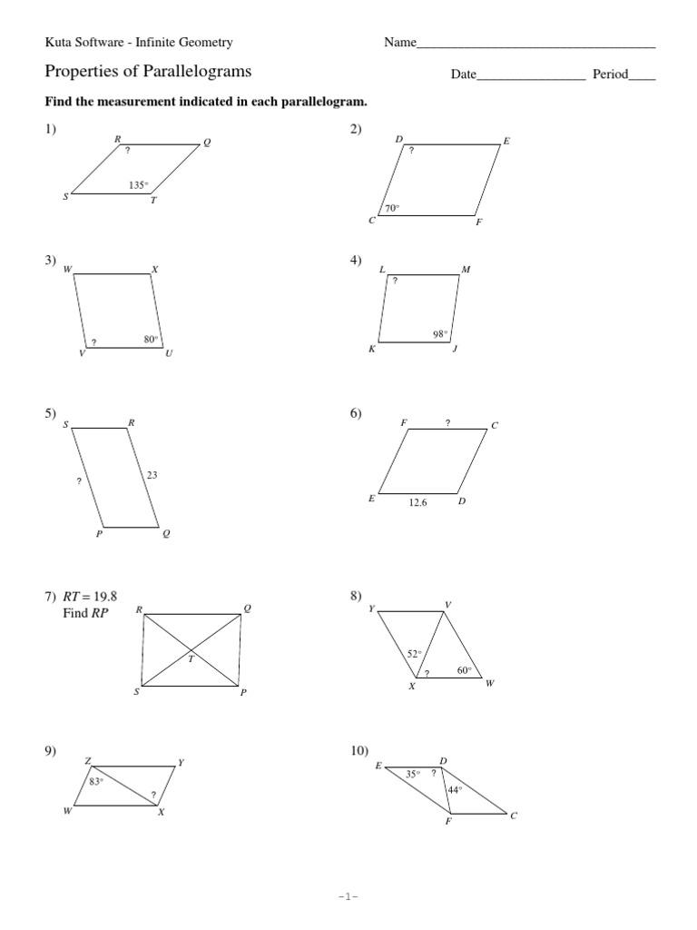 worksheet Properties Of Parallelograms Worksheet 6 properties of parallelograms