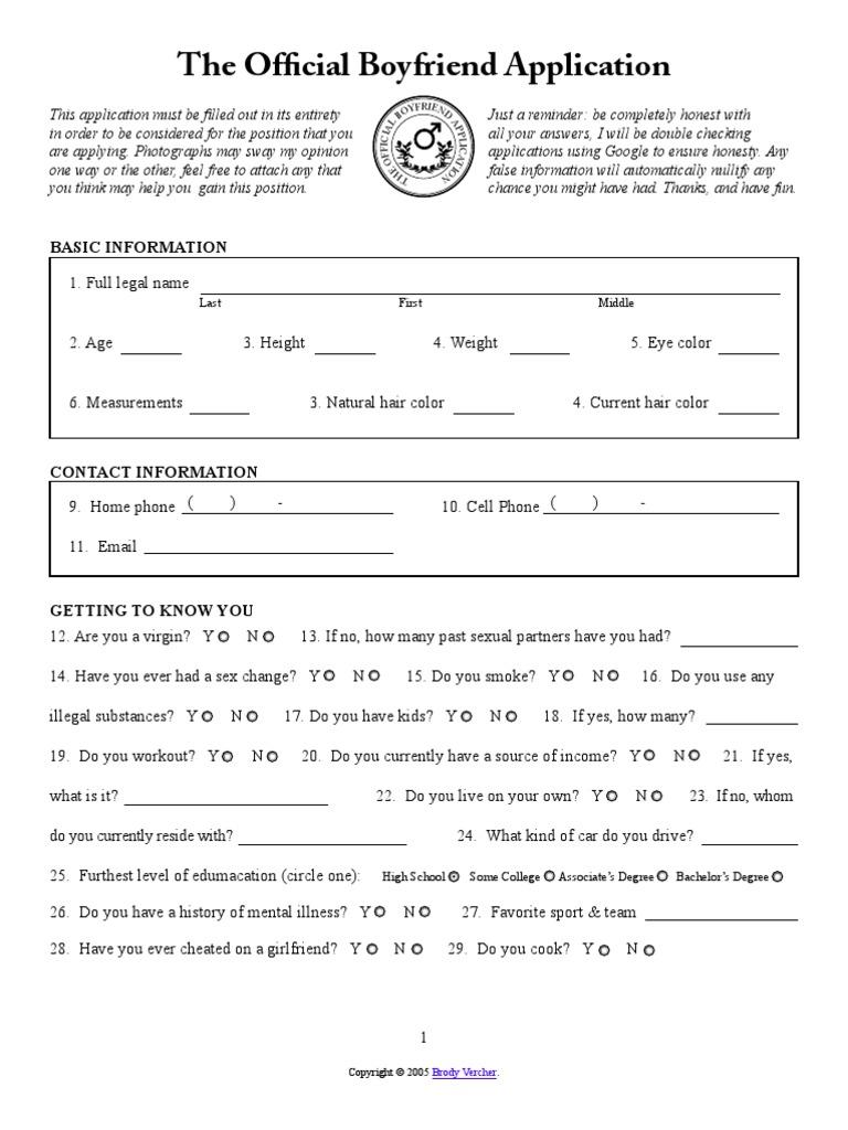 application for boyfriend