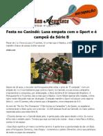 Festa no Canindé Lusa empata com o Sport e é campeã da Série B