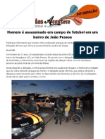 Homem é assassinado em campo de futebol em um bairro de João Pessoa