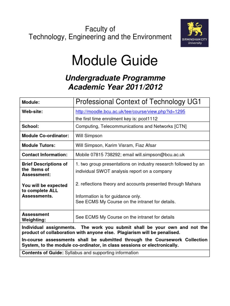 bcu coursework submission