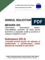 GHIDUL SOLICITANTULUI Pentru Masura 322 Submasura d