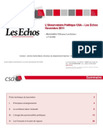L'Observatoire Politique CSA-Les Echos - Novembre 2011