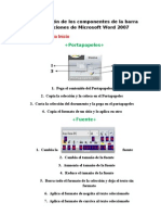 Descripción de los componentes de la barra de opciones de Microsoft Word 2007