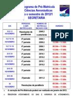 Cronograma de pré-matrícula 2012_1