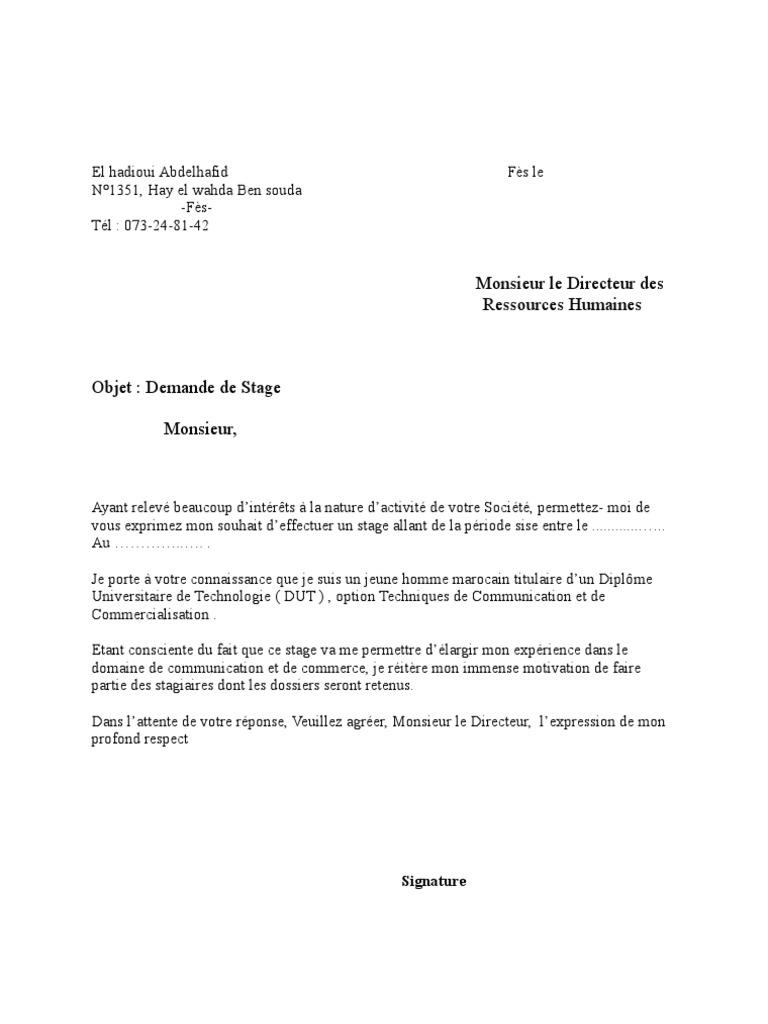 Exemple De Demande De Stage Esat / #11+exemple de lettre ...