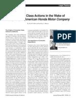 Consumer Class Actions in the Wake of Daugherty v. American Honda Motor Company