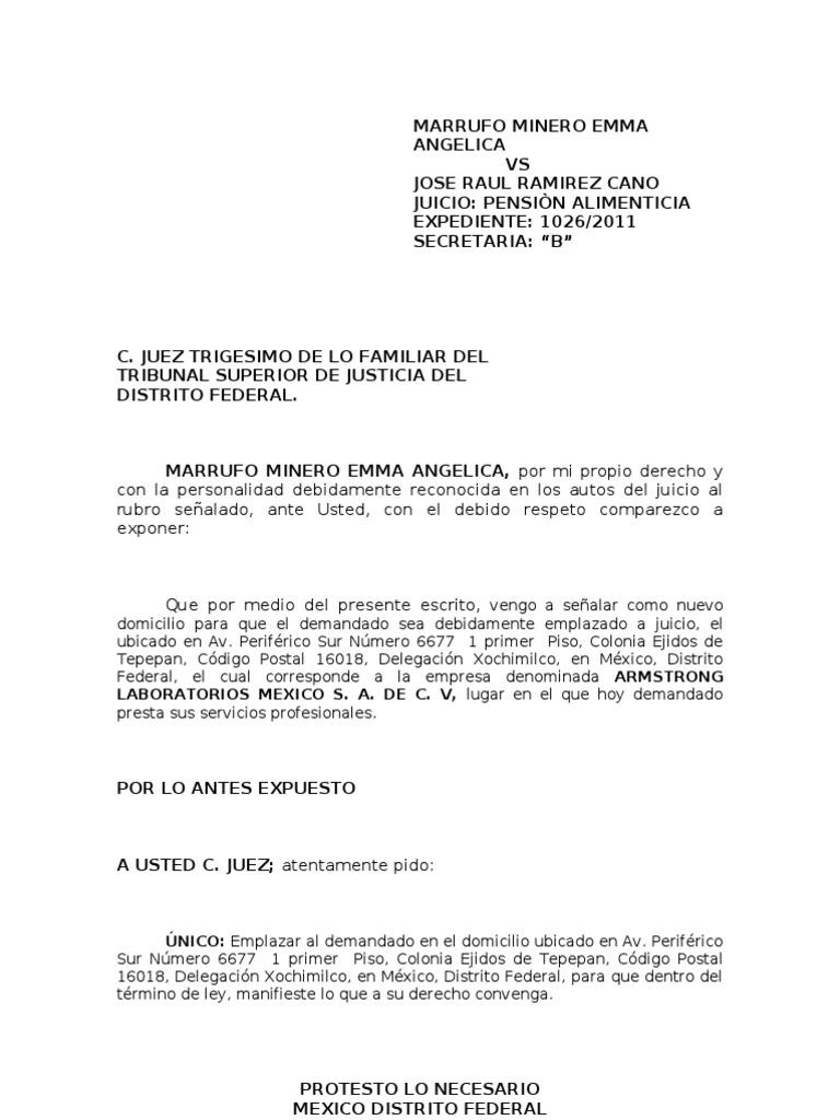 ESCRITO SEÑALANDO NUEVO DOMICILIO (ANGELICA)