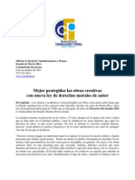 Mejor Protegidas Las Obras Creativas Con Nueva Ley de Derechos Morales de Autor
