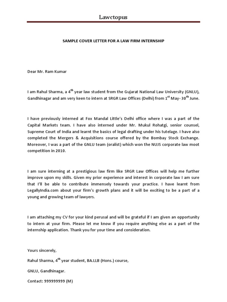 Sample Cover Letter For A Law Firm Internship 3  Examples Of Cover Letters