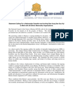 NCUB Statement;Ceasefire and Dialogue with Daw Aung San Suu Kyi-english