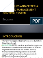 Techniques and Criteria for Good Management Control System