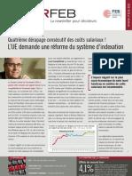 Quatrième dérapage consécutif des coûts salariaux ! L'UE demande une réforme du système d'indexation, Infor FEB n° 35, 10 novembre 2011