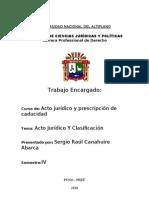 ACTO JURIDICO, clasificación
