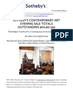 Sotheby's Contemporary Art Evening Sale Totals Outstanding $315.8 million