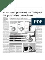 El 20 Por Ciento de Peruano No Compara Los Productos Financieros