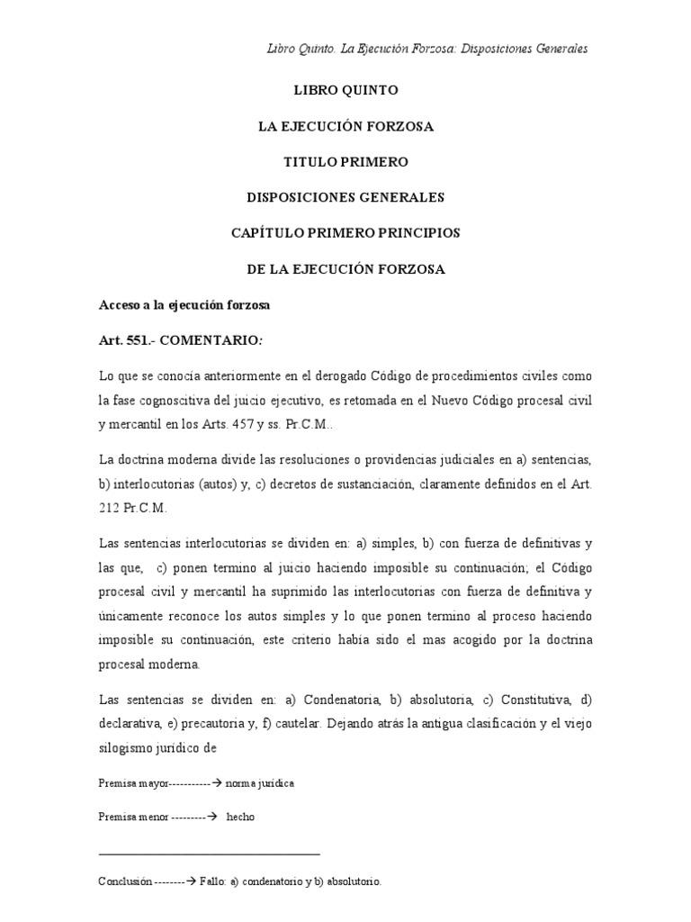 Codigo Procesal Civil Y Mercantil Comentarios Libro Quinto
