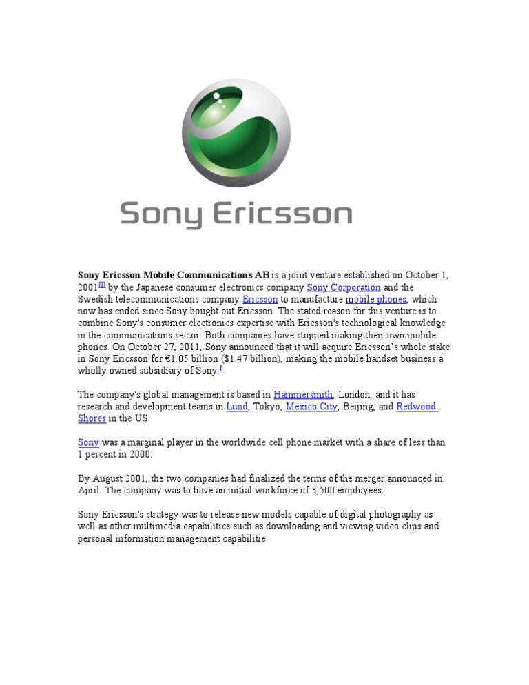 sony ericsson negotiation process The licensing agency (tla) is the leading provider of digital content for marketing, promotions and licensing - sourcing quality media from categories including film, tv series, music, video games, software, mobile apps, ebooks and audio books.