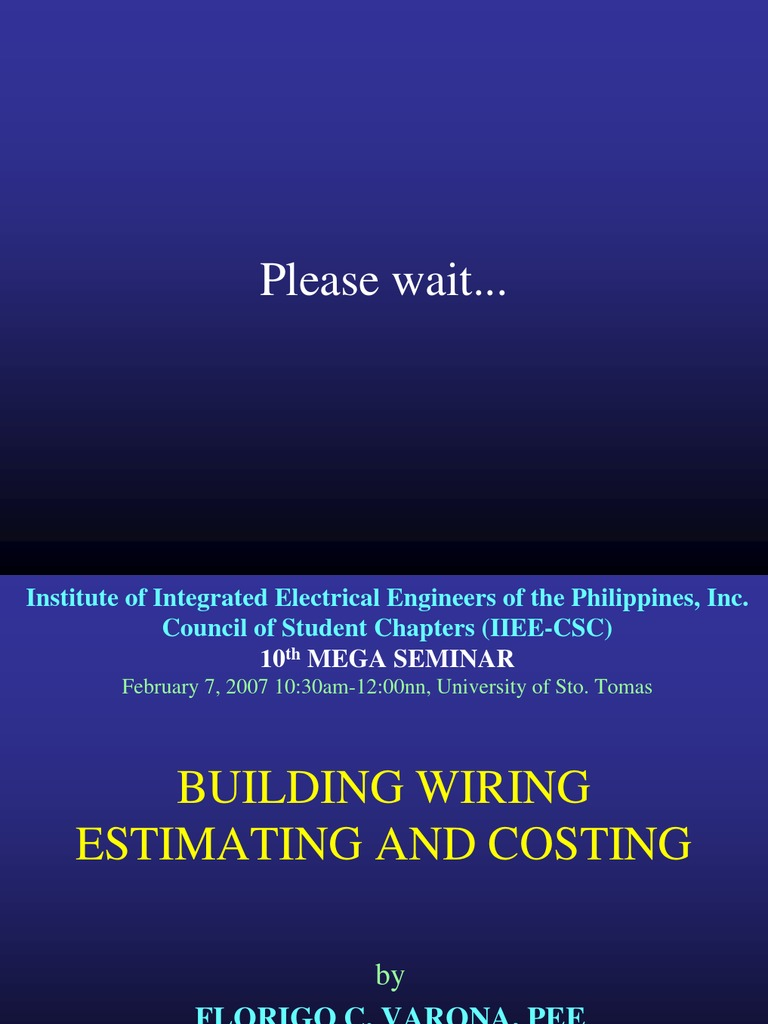 Building Wiring Estimating & Costing   Specification (Technical ...