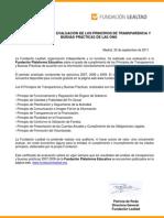 Certificat d'avaluació de la Fundación Lealtad a Fundació Plataforma Educativa de transparència i bones pràctiques. Setembre 2011
