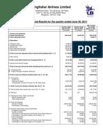 Kingfisher Airlines - Published Results Quarter Ended June 30 2011