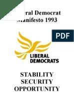 Liberal Democrat 1993 Election Manifesto