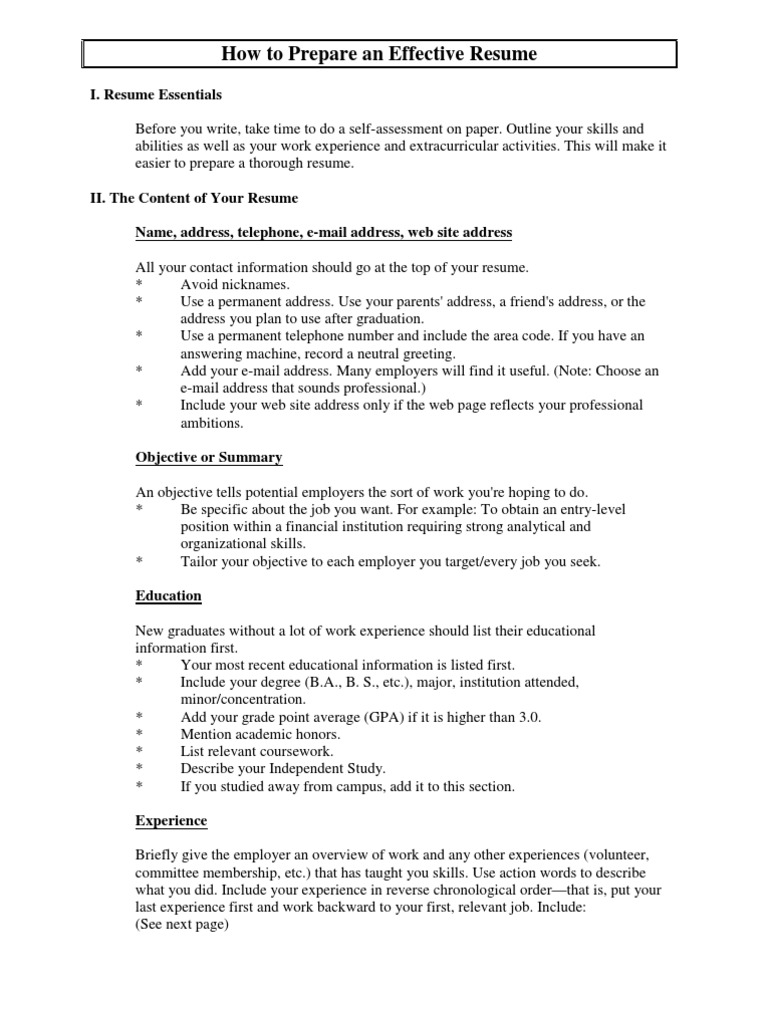 resume and cover letter guide rsum competence human resources - Describe Your Educational Experience