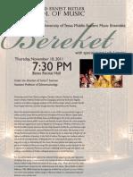 Bereket Middle Eastern Ensemble Fall 2011 Concert