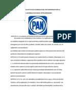 Reforma de Los Estatutos Generales Del Pan Aprobada Por La