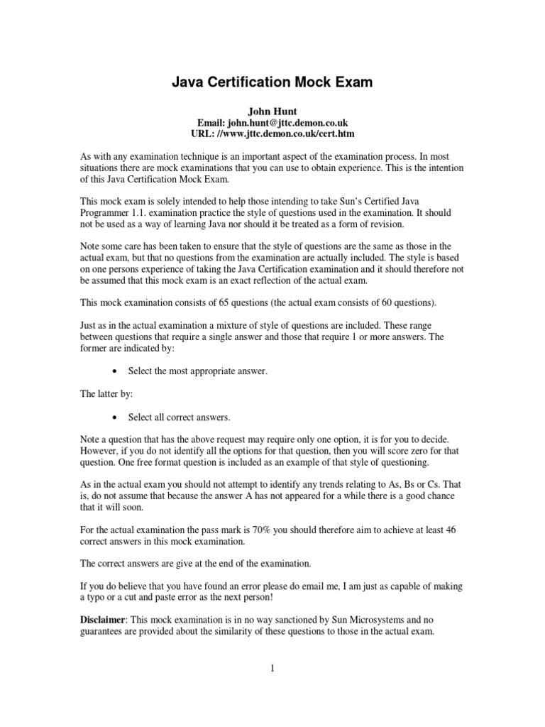 Scjp Exam Java Certification Mock Exam Method Computer