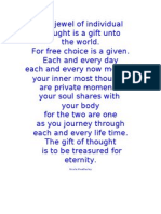 The Jewel of Individual Thought is a Gift Unto World