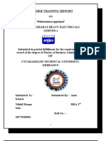 39741701 Summer Training Report on Performance Management on B H E L