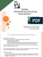 Mural medidas neoliberales en la educación