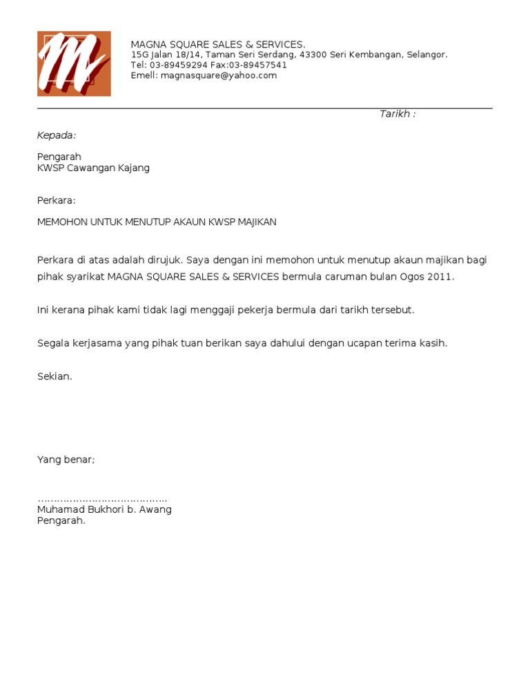 Sample Letter To Kwsp