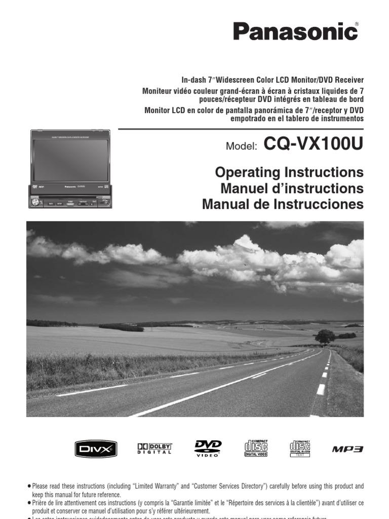 Panasonic Cq Vx100u Wiring Diagram Free Download Cqcp137u Cqvx100u Compact Disc Dvd