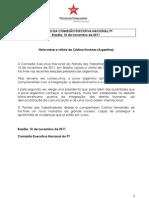 Resolução do PT sobre vitória de Cristina Kirchner