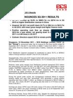 ECS Announces 3Q 2011 Results