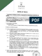 Edital 06/2011 - Assembleia Municipal de Sintra de 23 de Novembro