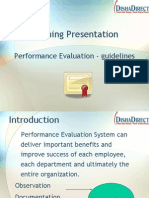 Performance Evaluation Guidelines