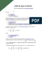 Cálculo de caudal de agua en tubería