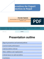 Cash Incentives for Export Promotion in Nepal