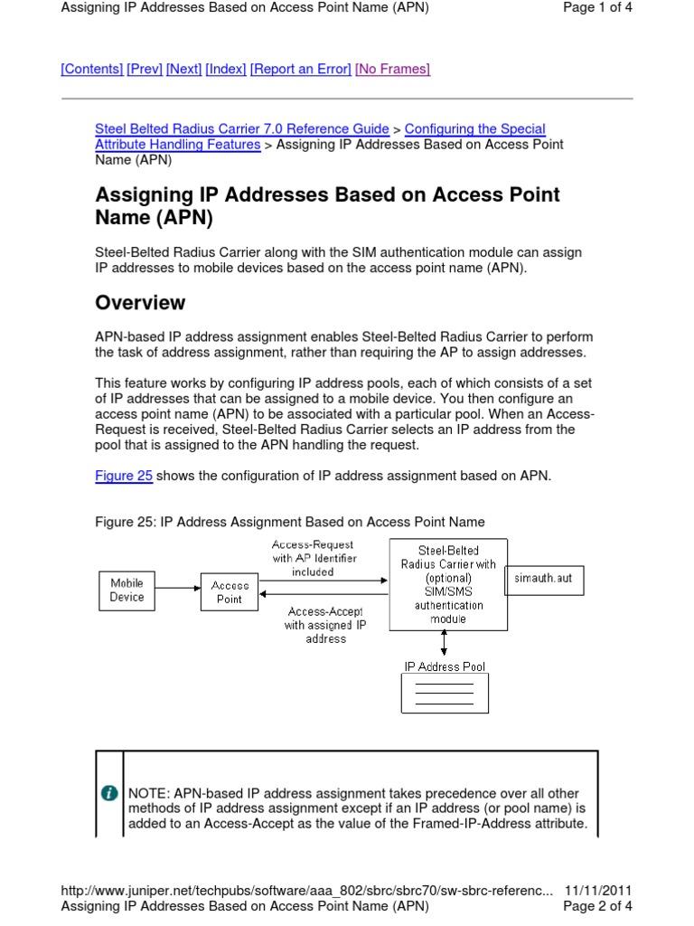APN IP Address Assignment | Radius | Ip Address