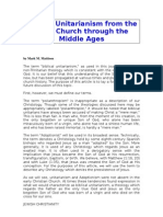 Biblical Unitarianism From the Early Church Through the Middle Ages