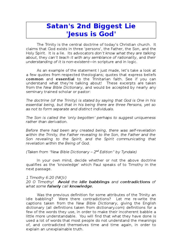 Satan Second Biggest Lie | God The Father | Trinity