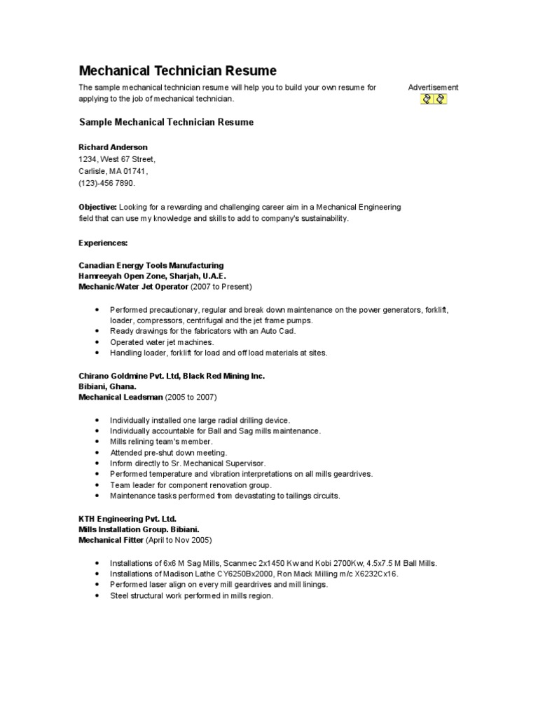 Mechanical Technician Resume | Industries | Technology