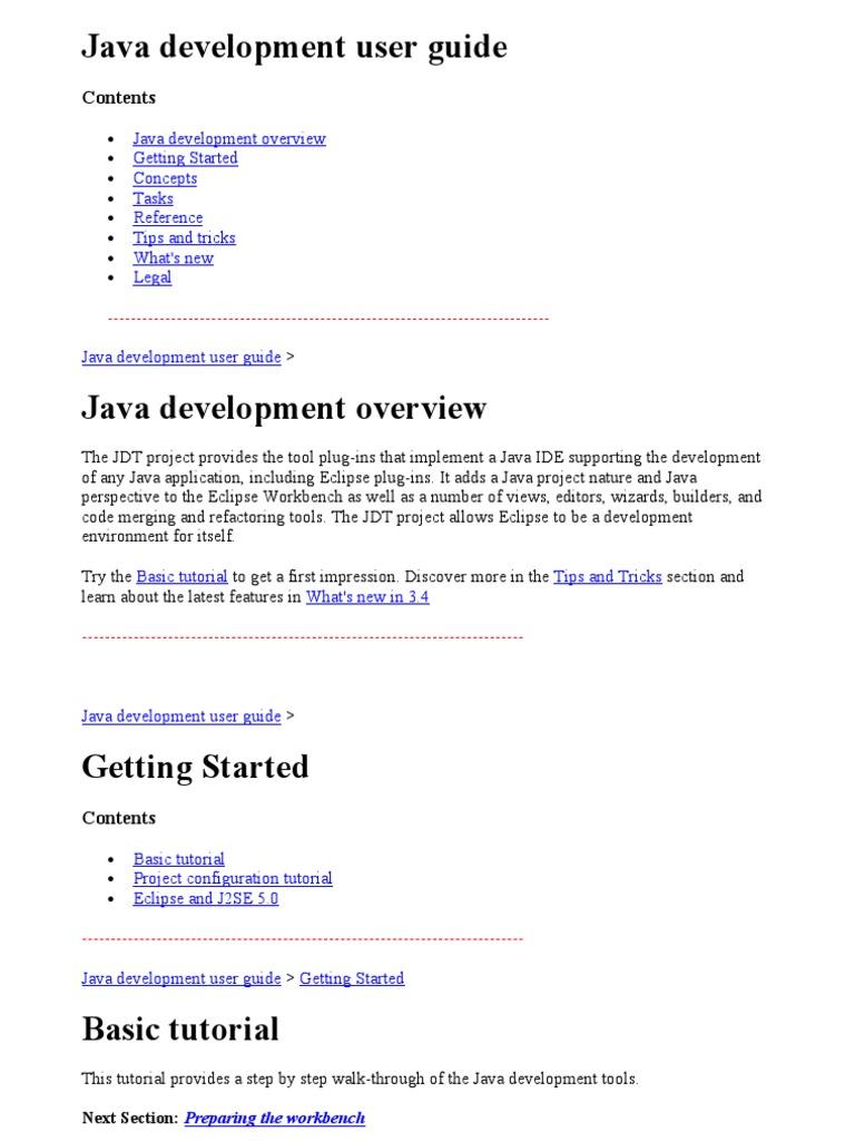 Java Development User Guide | Eclipse (Software) | Java (Programming  Language)
