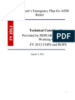 The President's Emergency Plan for AIDS Relief Technical Considerations Provided by PEPFAR Technical Working Groups for FY 2012 COPS and ROPS