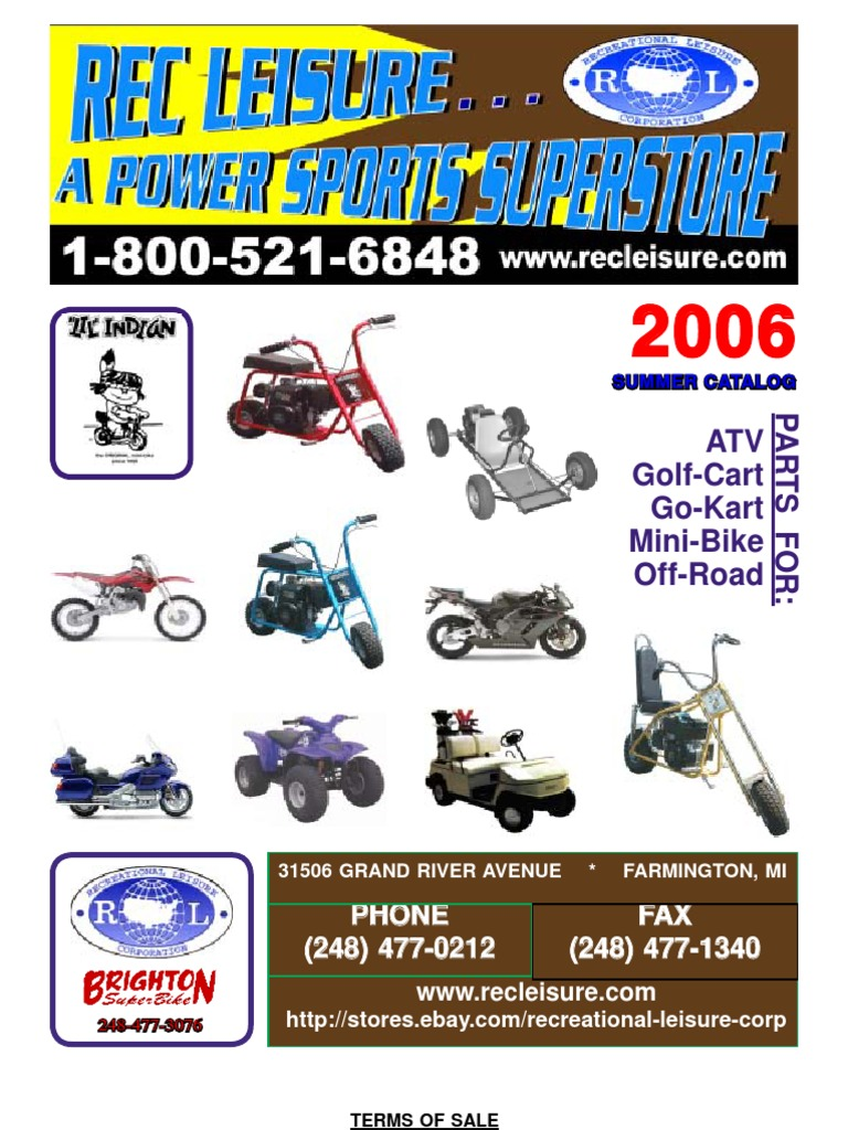 Rec Leisure Minibike Catalog 2006 | Fee | Vehicles